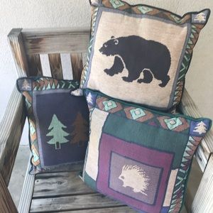 Rustic Tapestry Throw Pillows | Cabin Porch decor